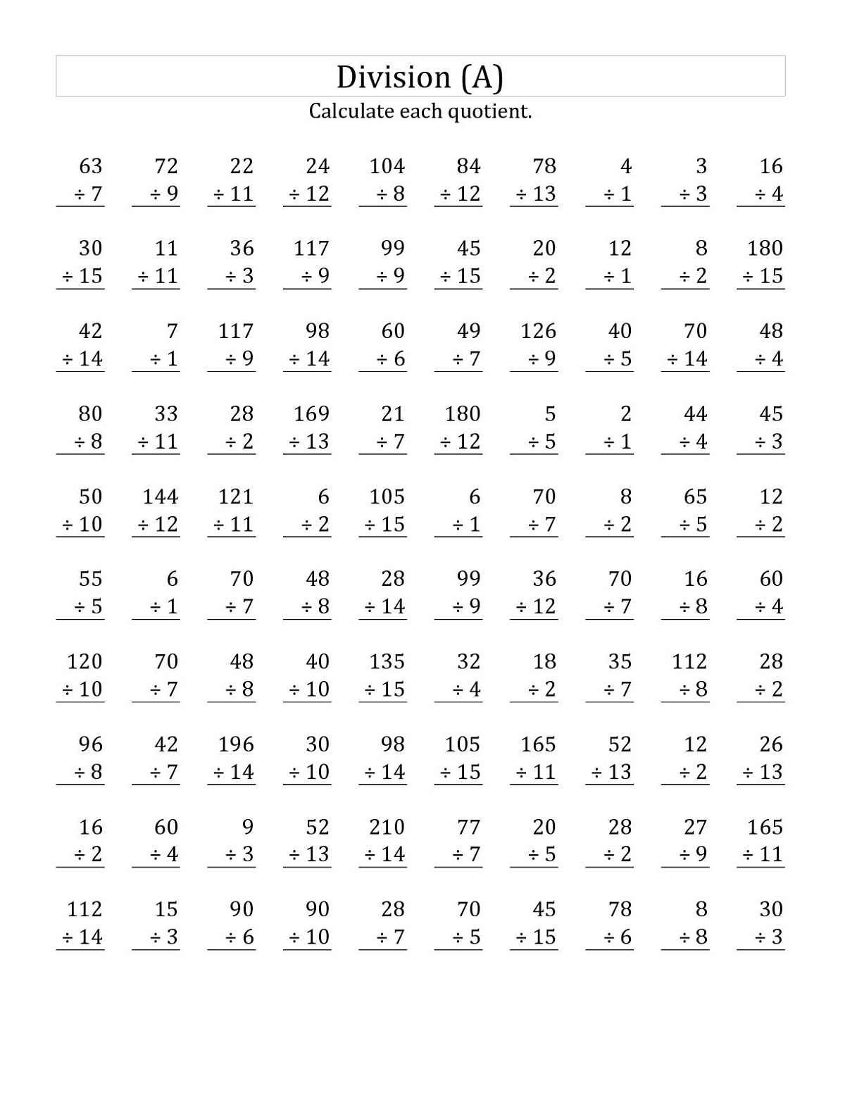 Year 3 Maths Worksheets Division