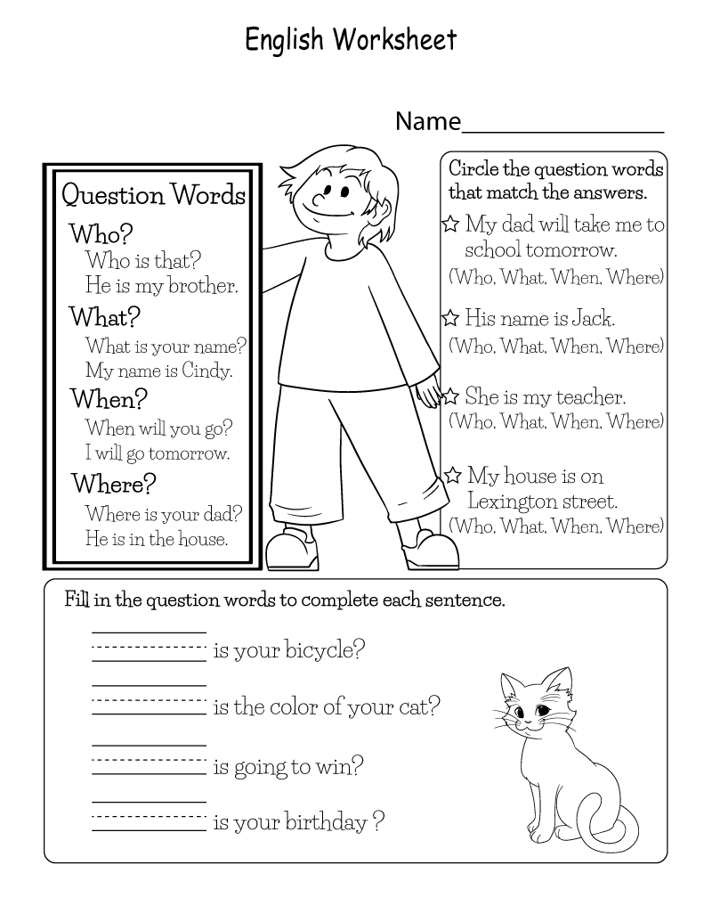 English Worksheets to Print Question