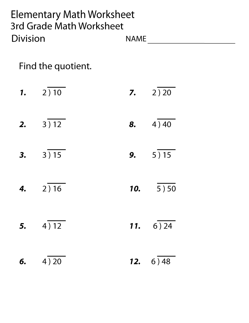Free Printable Worksheets for 3rd Grade Quotient