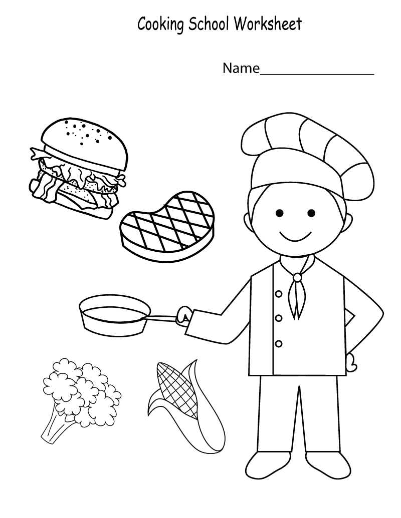 School Worksheets for Kindergarten Cooking