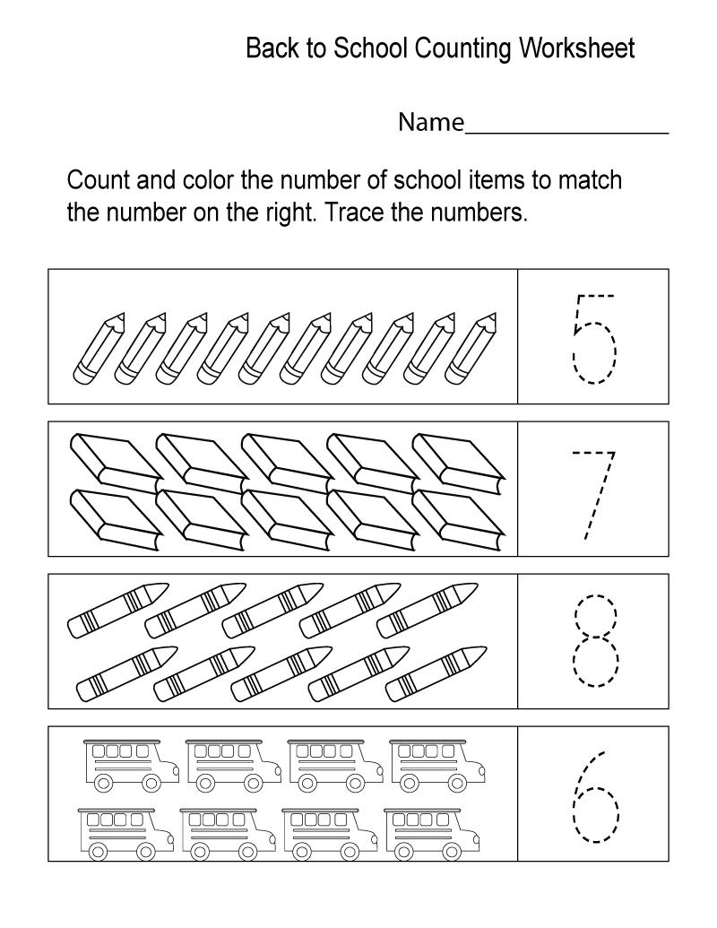 School Worksheets for Kindergarten Counting