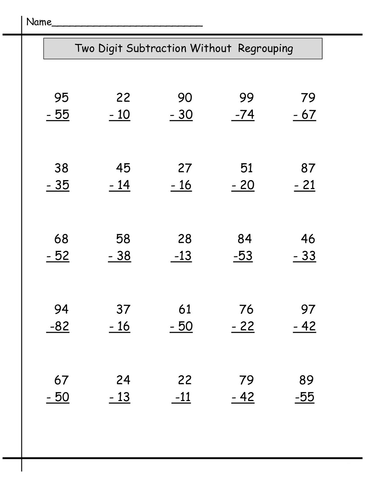 Year 2 Math Worksheets Subtraction