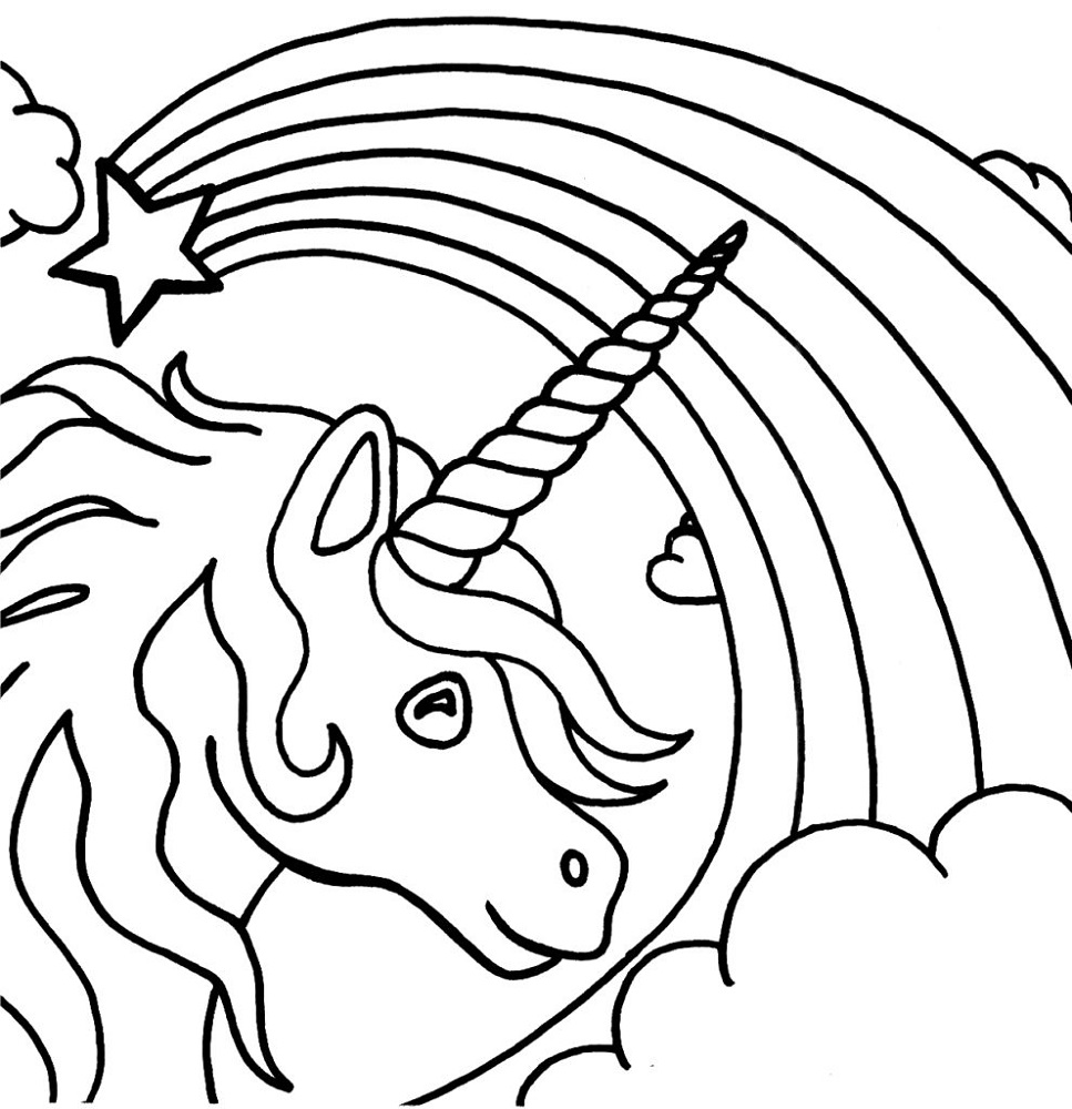 Childrens Colouring Sheets Free Unicorn