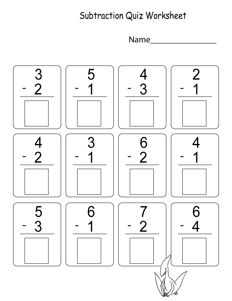 Math Worksheets for Kindergarten Addition and Subtraction Quiz