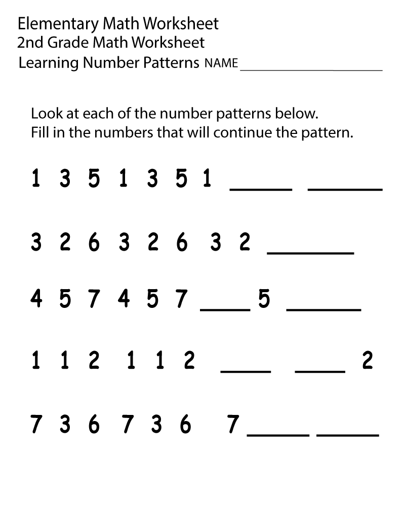 Printable 2nd Grade Math Worksheets Number