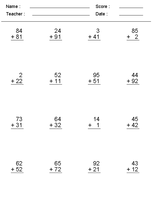Simple Math Problems Worksheets Addition