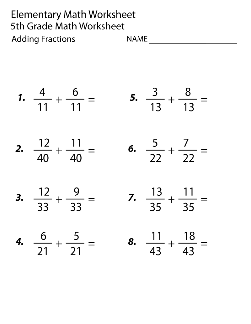 Grade 5 Math Worksheets Fraction