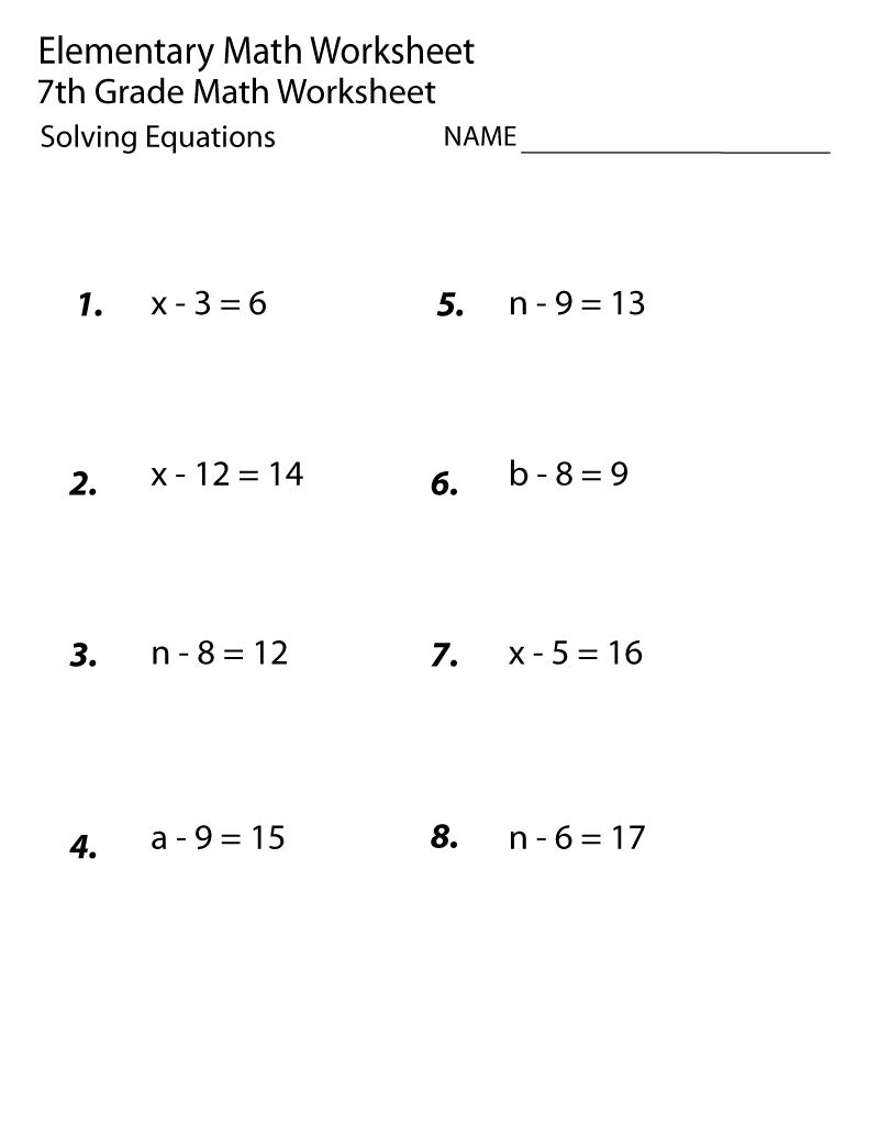 Seventh Grade Math Worksheets Addition