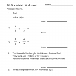 Seventh Grade Math Worksheets Algebra