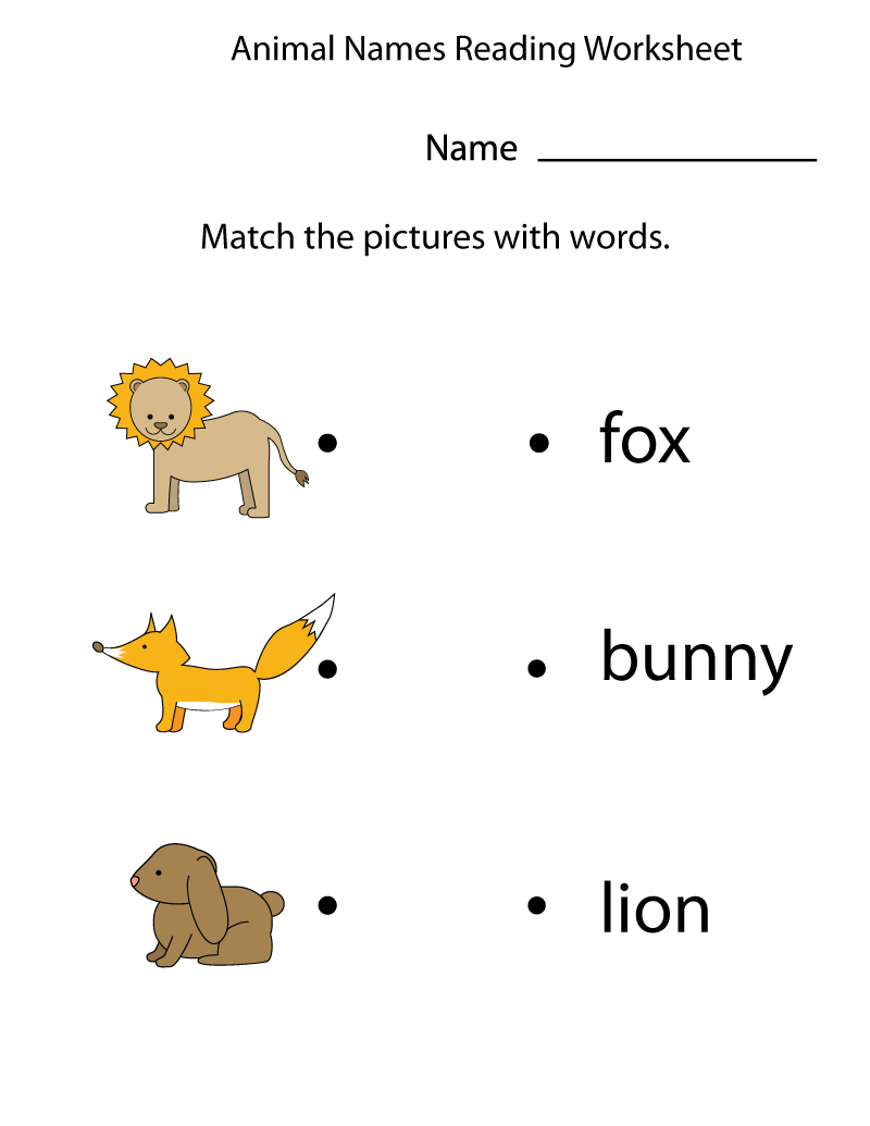 Kindergarten English Worksheets Animals