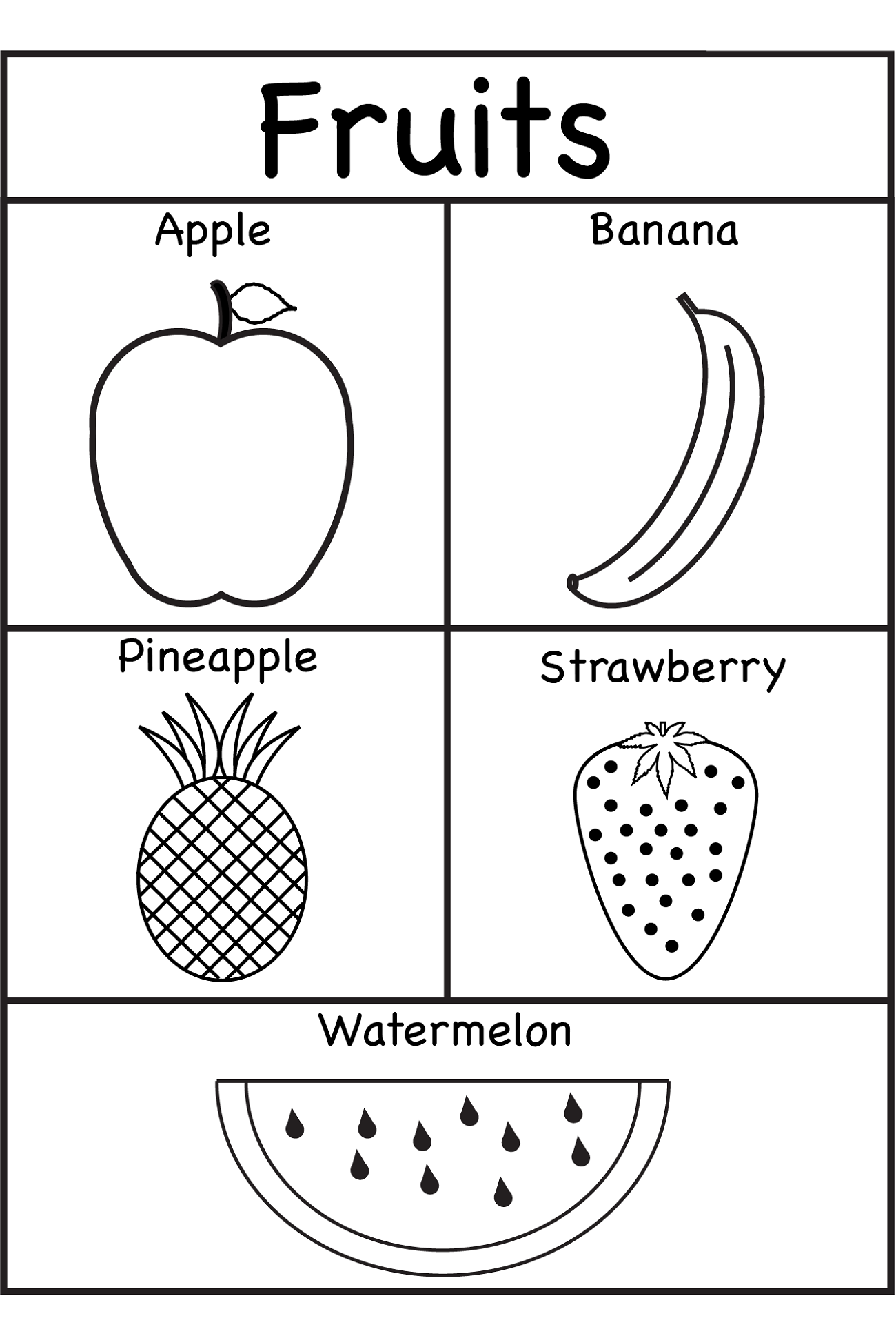 Kindergarten English Worksheets Fruit