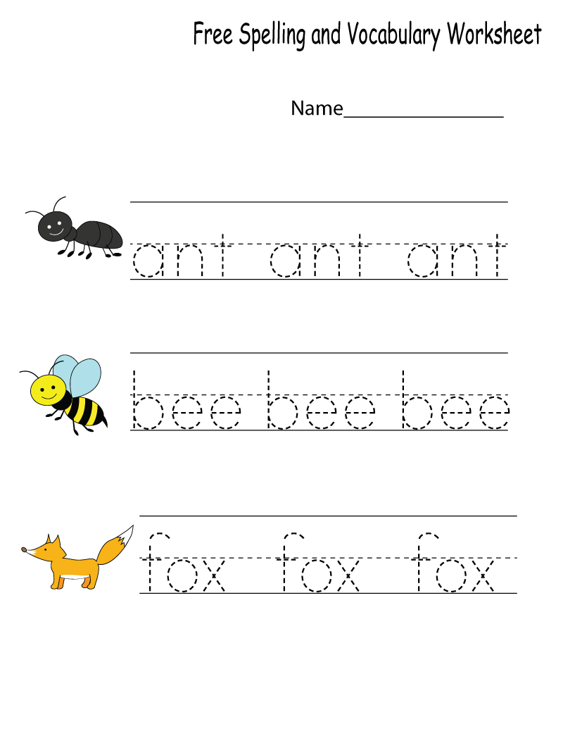 Kindergarten English Worksheets Spelling