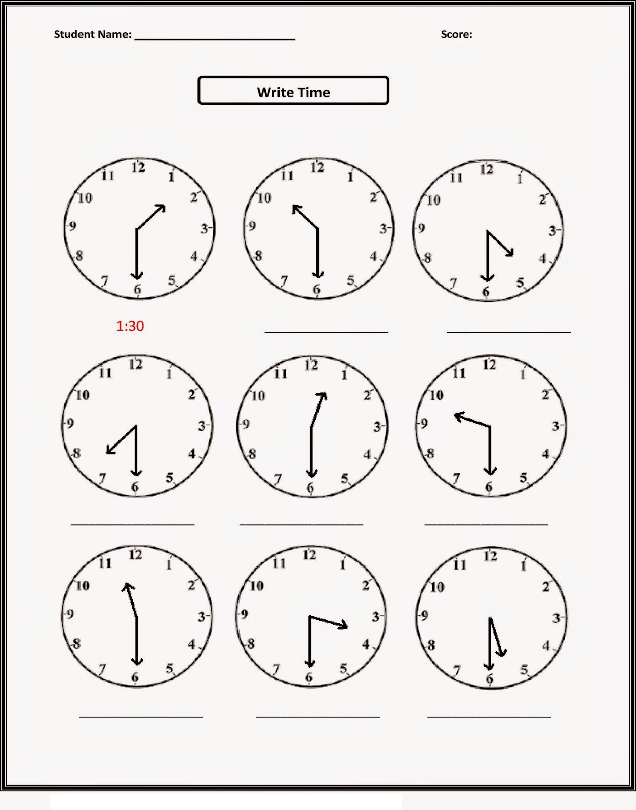 Printable Activities for Children Time