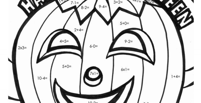 Math Coloring Worksheets Halloween