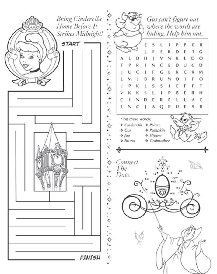 Printable Activity Sheets Cinderella