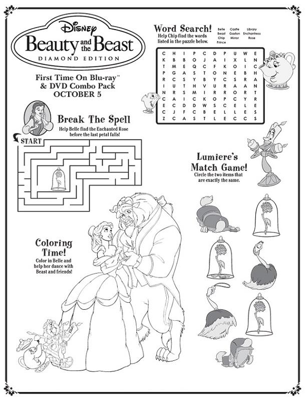 Printable Activity Sheets Disney