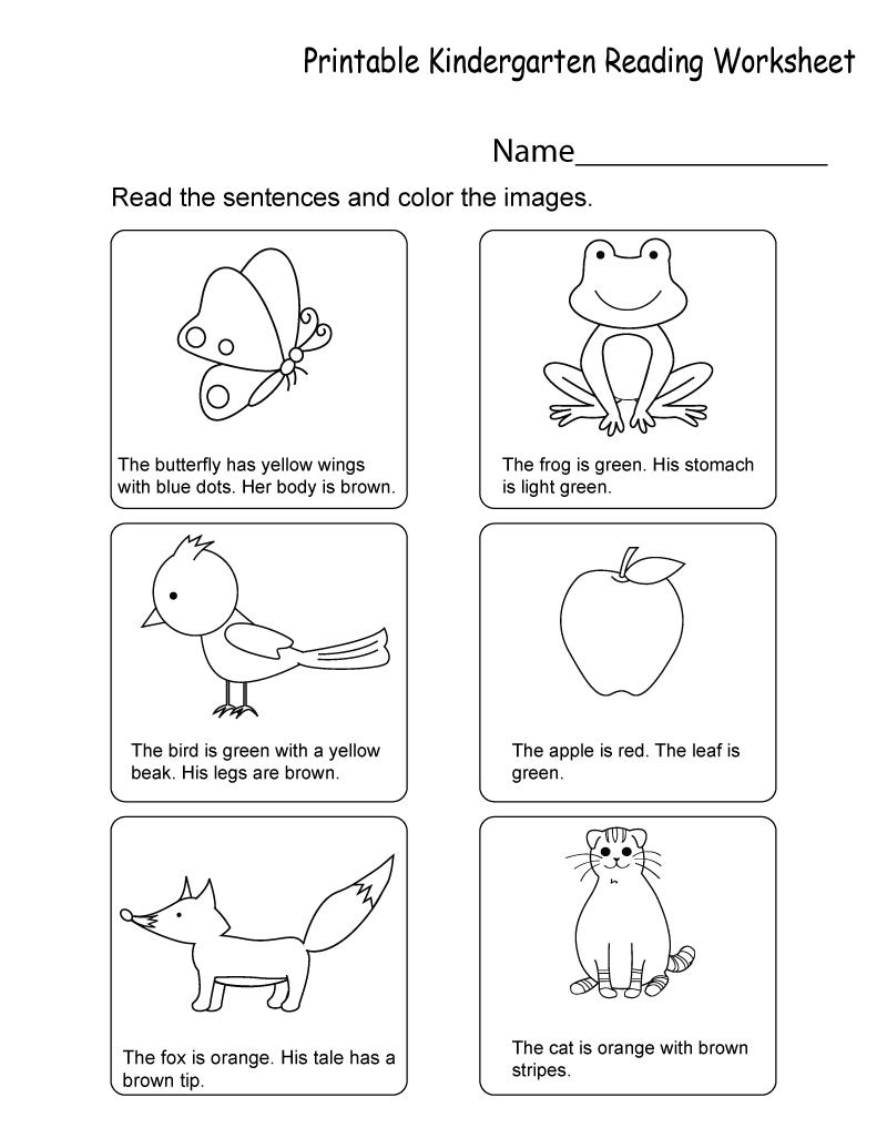 Kindergarten Worksheets Pdf Reading
