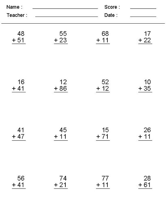 Math Worksheet Generator Addition