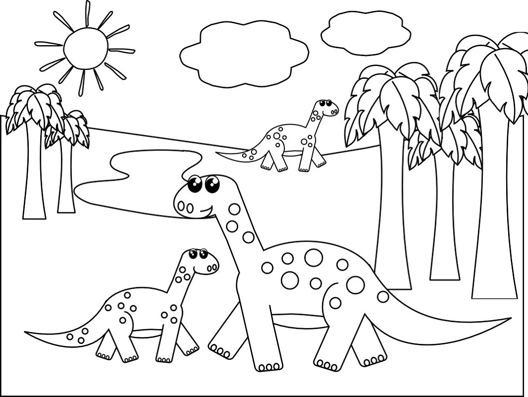 Coloring Book Pages for Kids Dinasaur