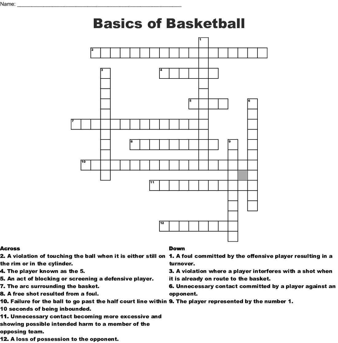 basic basketball crossword puzzles