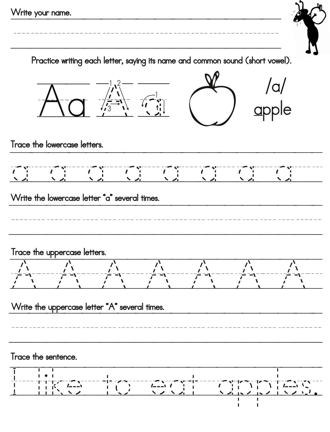 easy alphabet practice worksheets