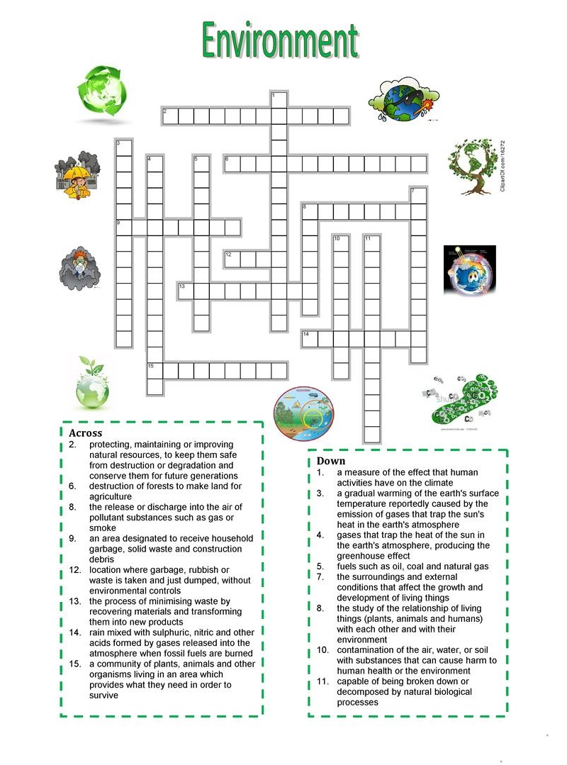 environment crossword puzzles for 5th graders