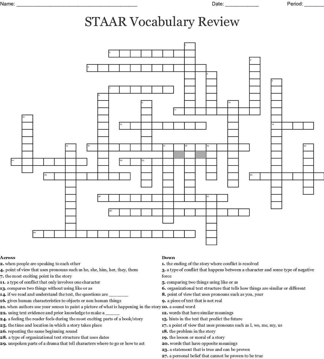 free crossword puzzles for 5th graders