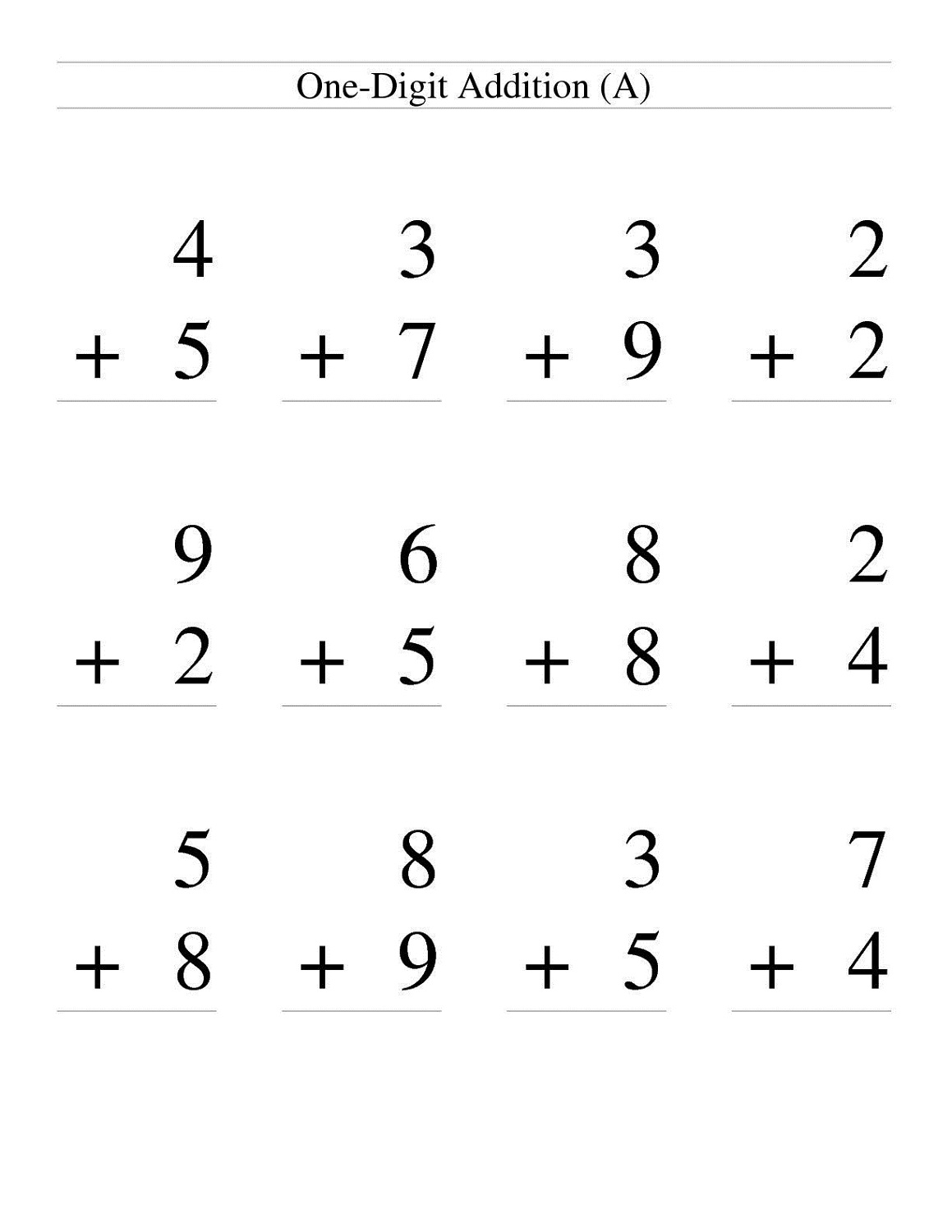 free easy math worksheets for first grade
