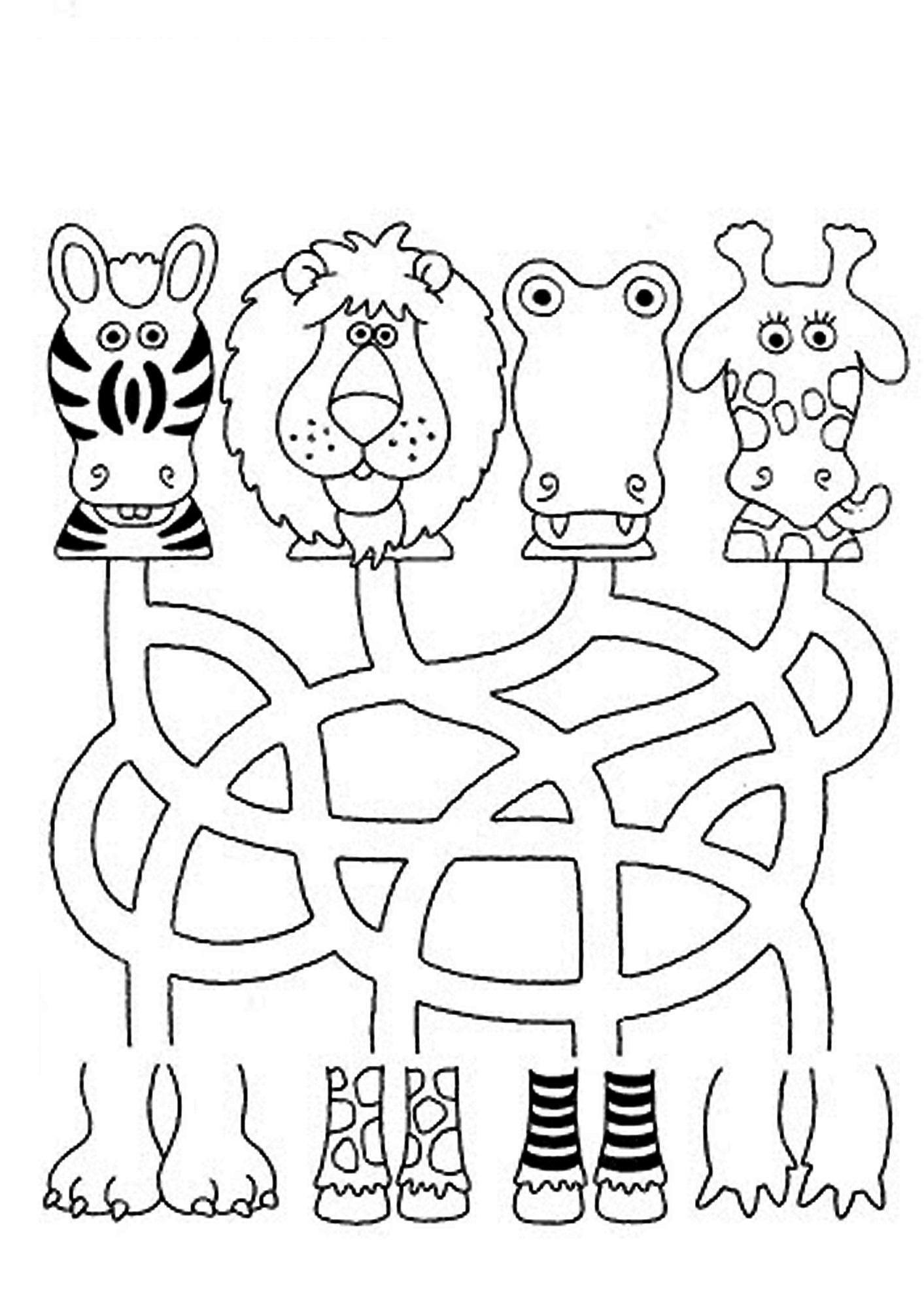 free kids mazes animal
