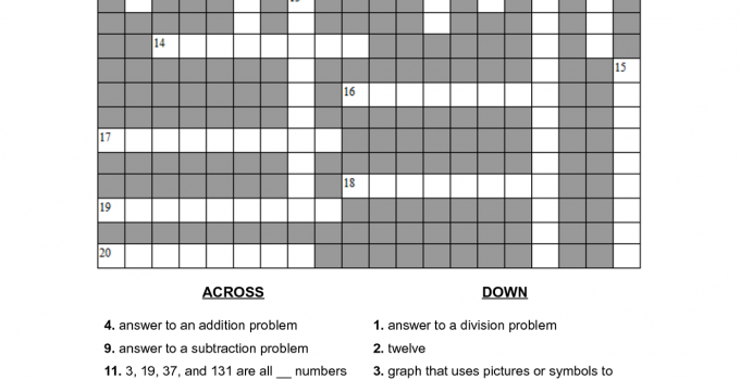math crossword puzzles for 5th graders