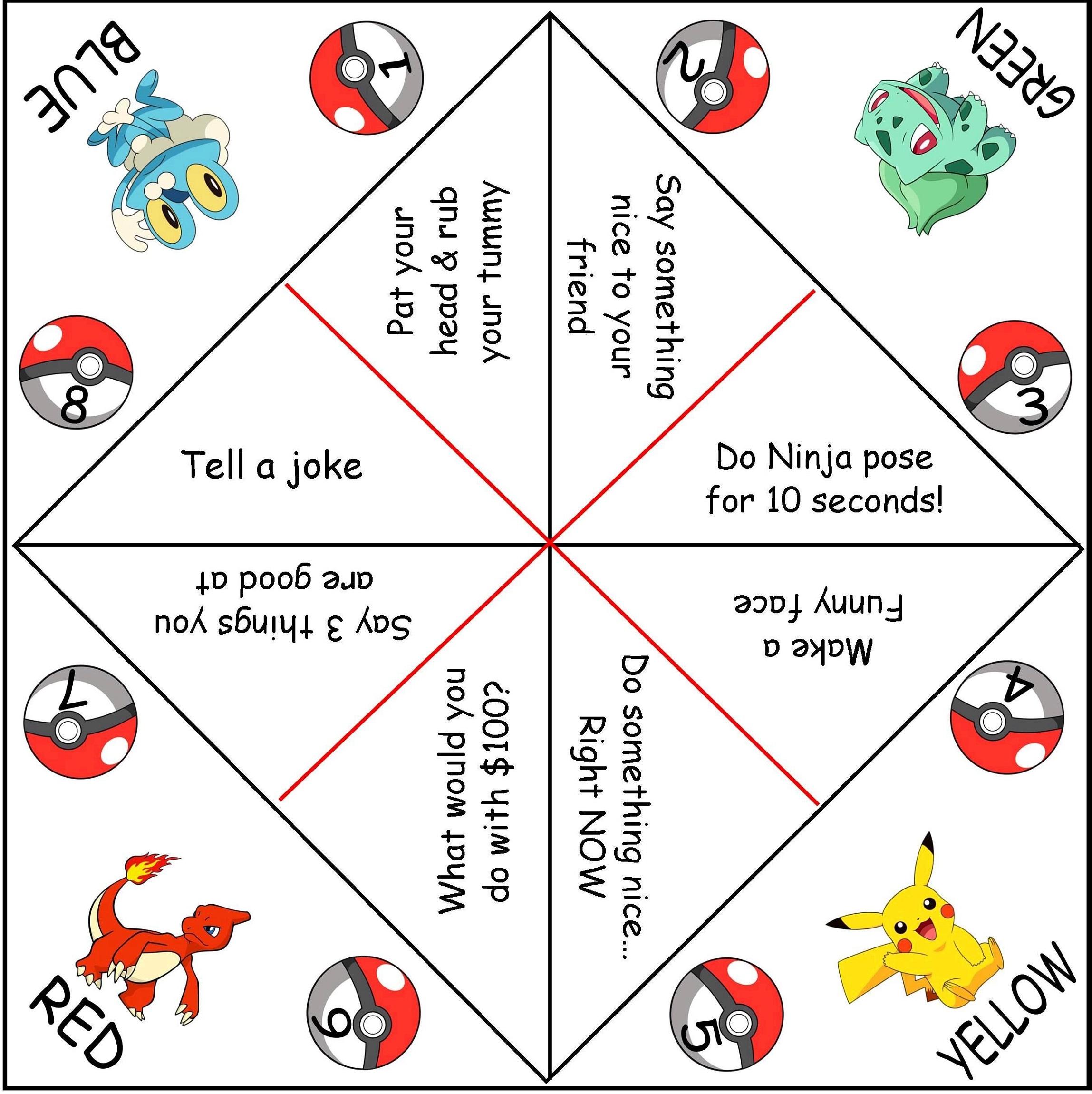 pokemon fortune teller paper game