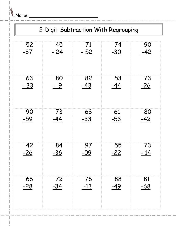 subtraction 2 digit math worksheets