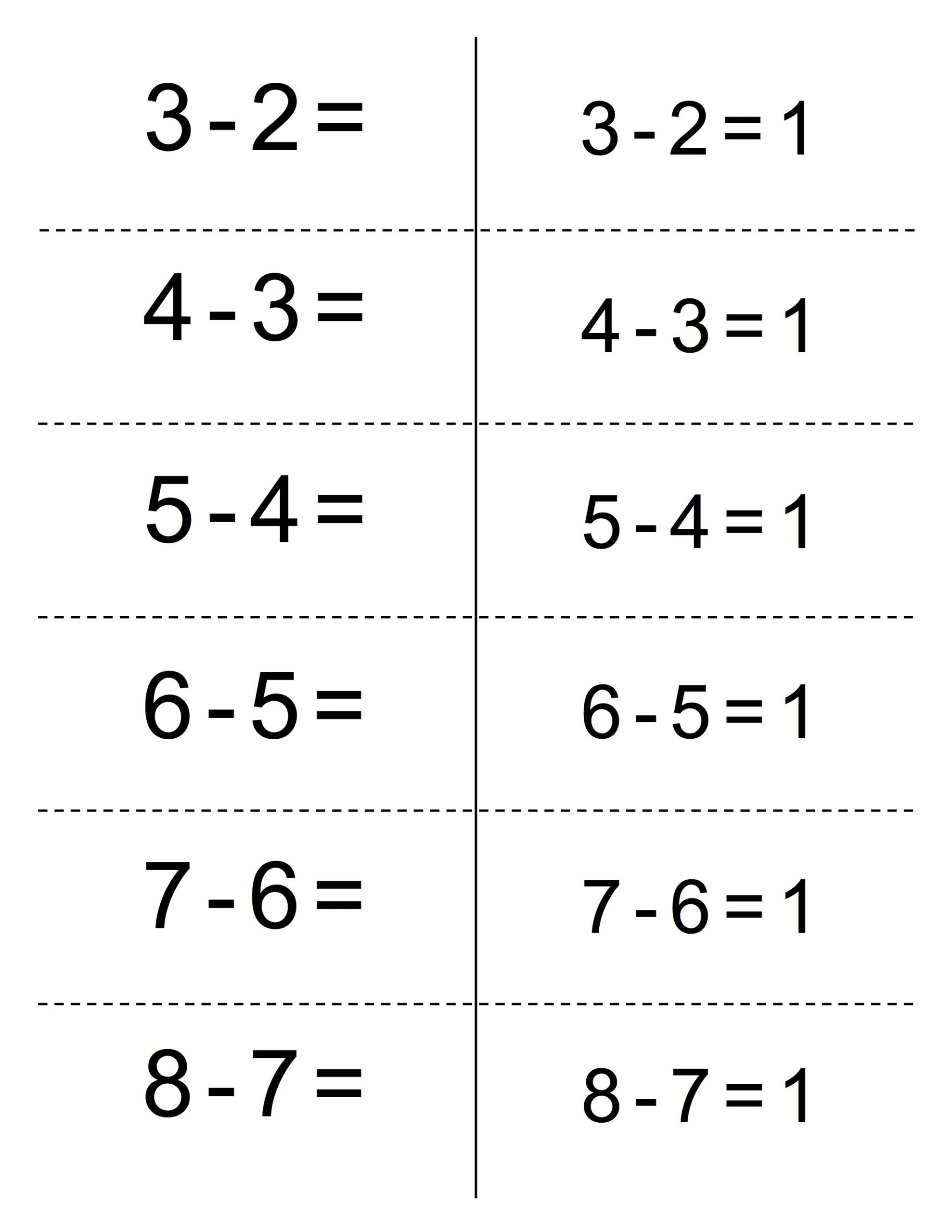 subtraction free easy math worksheets