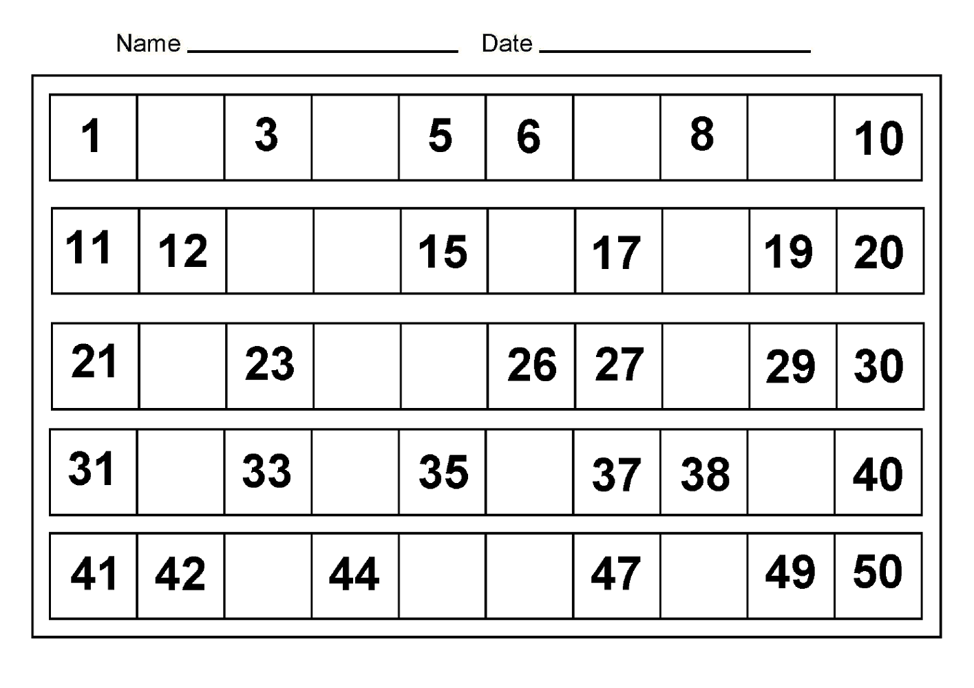 missing 50 number chart