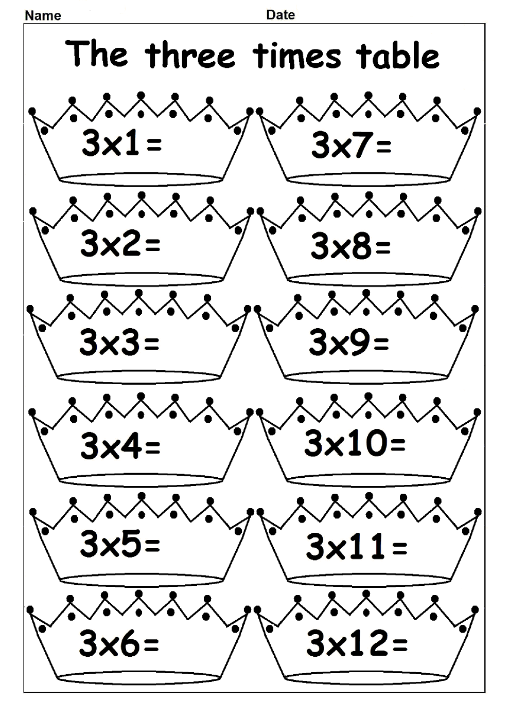 multiply by 3 worksheets for kids