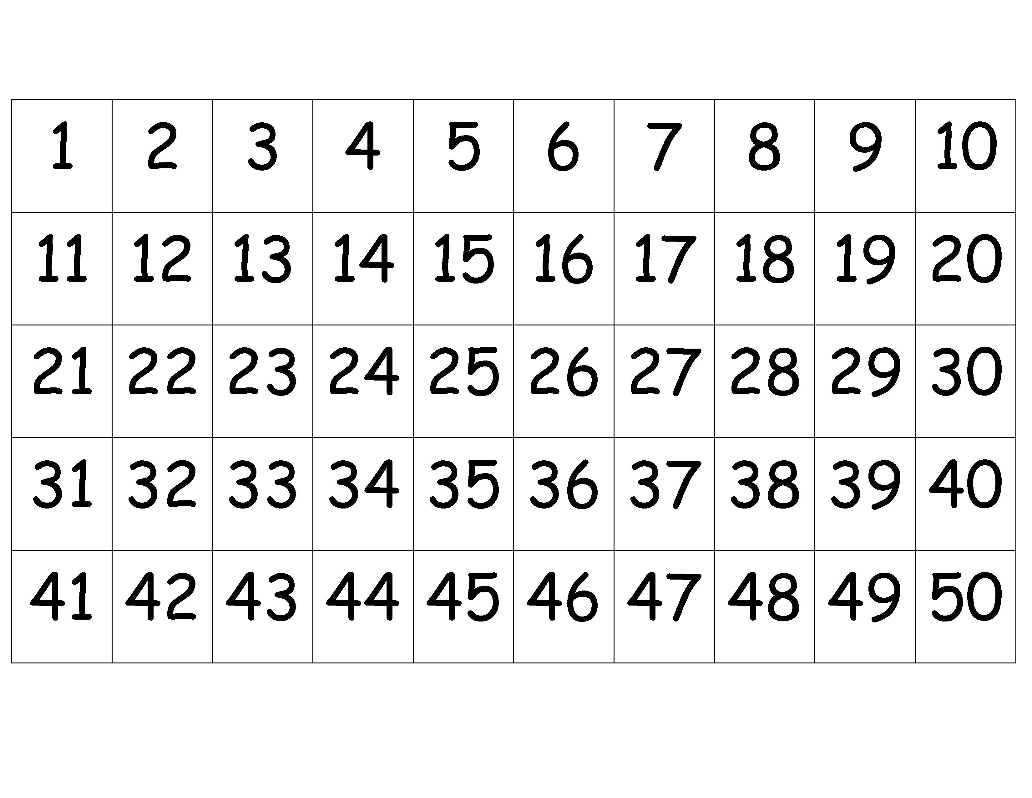 printable 50 number chart