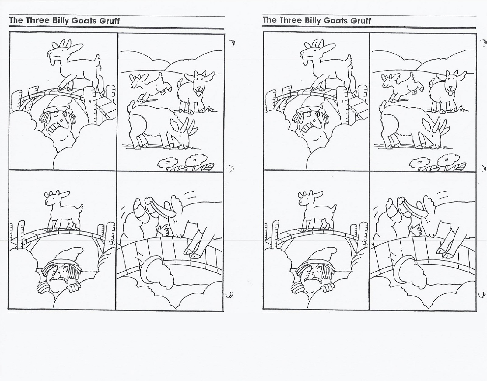 sequencing three billy goats gruff activities