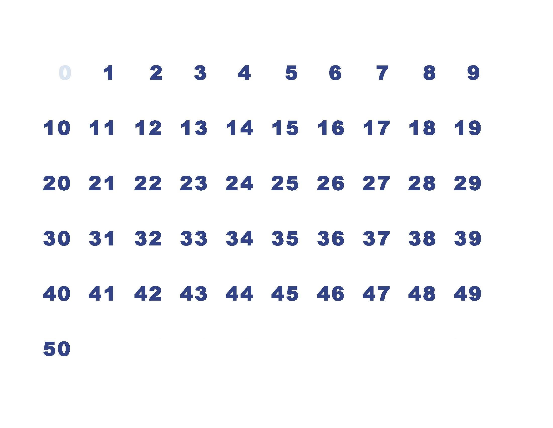 simple 50 number chart