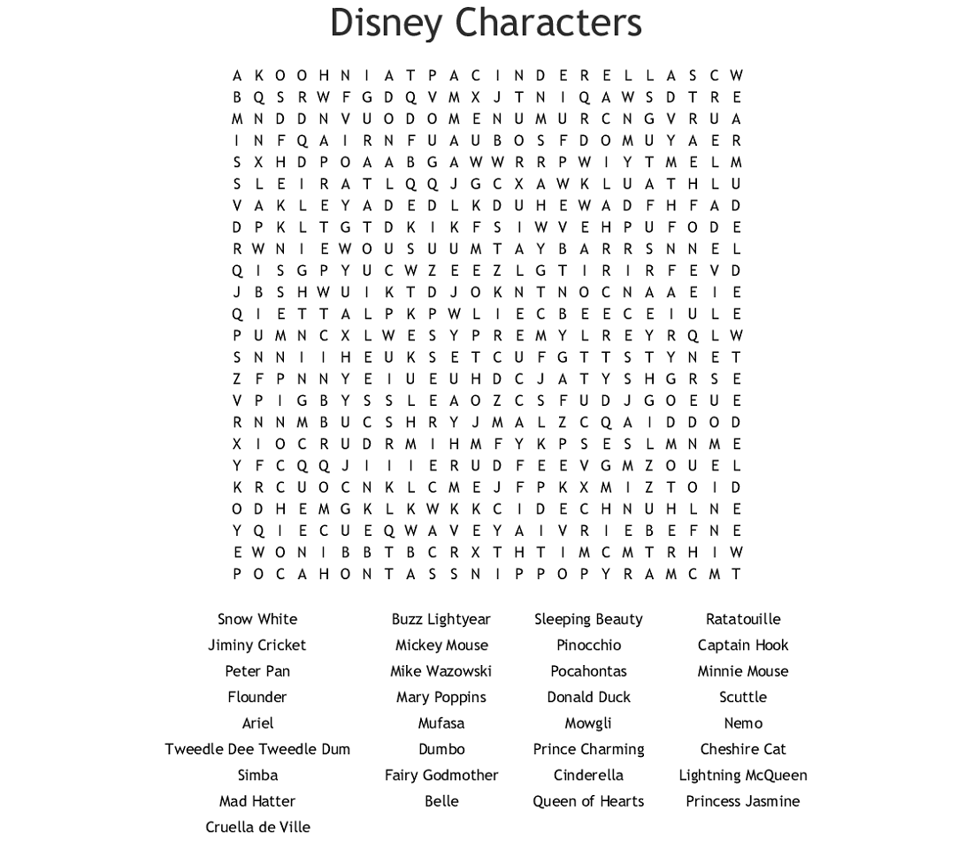 characters disney word search puzzles