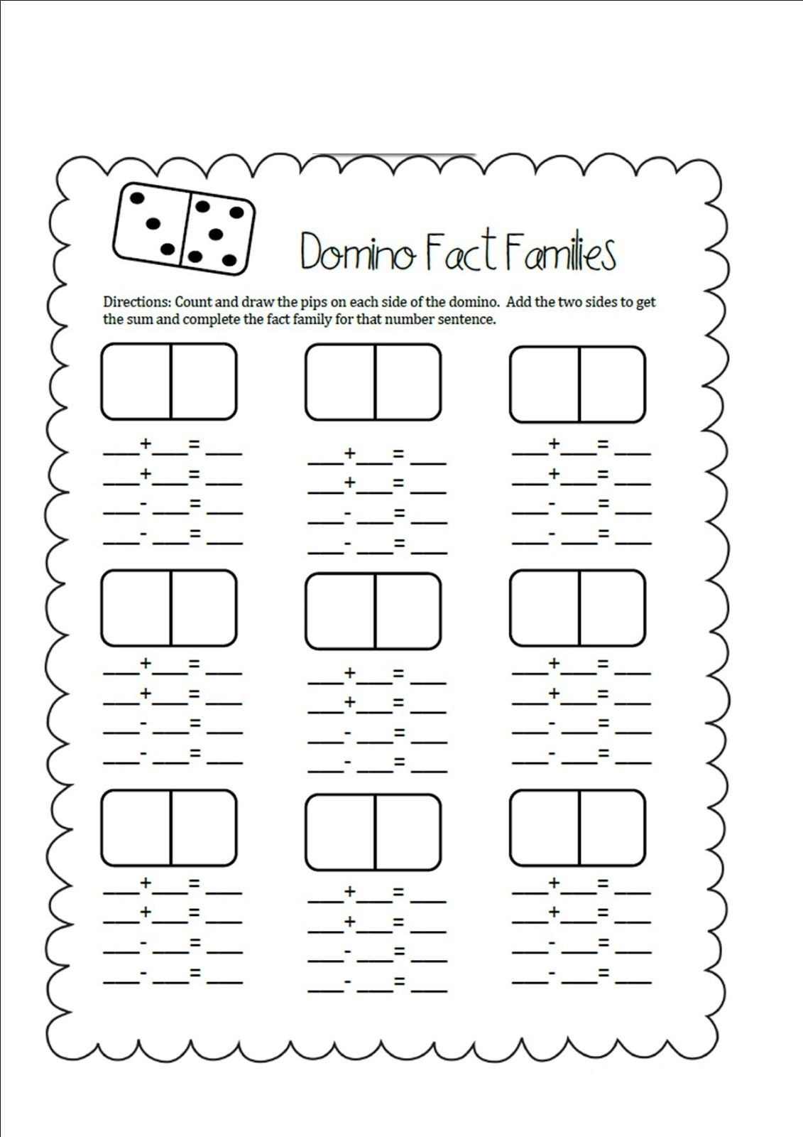 domino fact families worksheets first grade