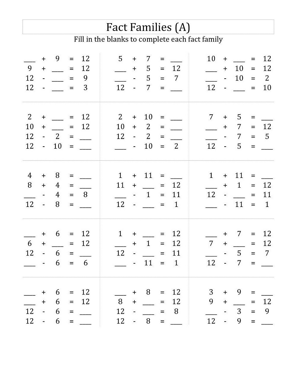 easy fact families worksheets first grade