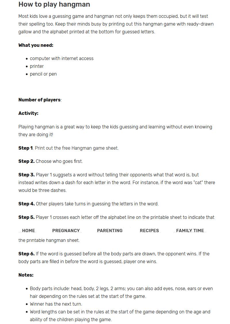 easy hangman game rules