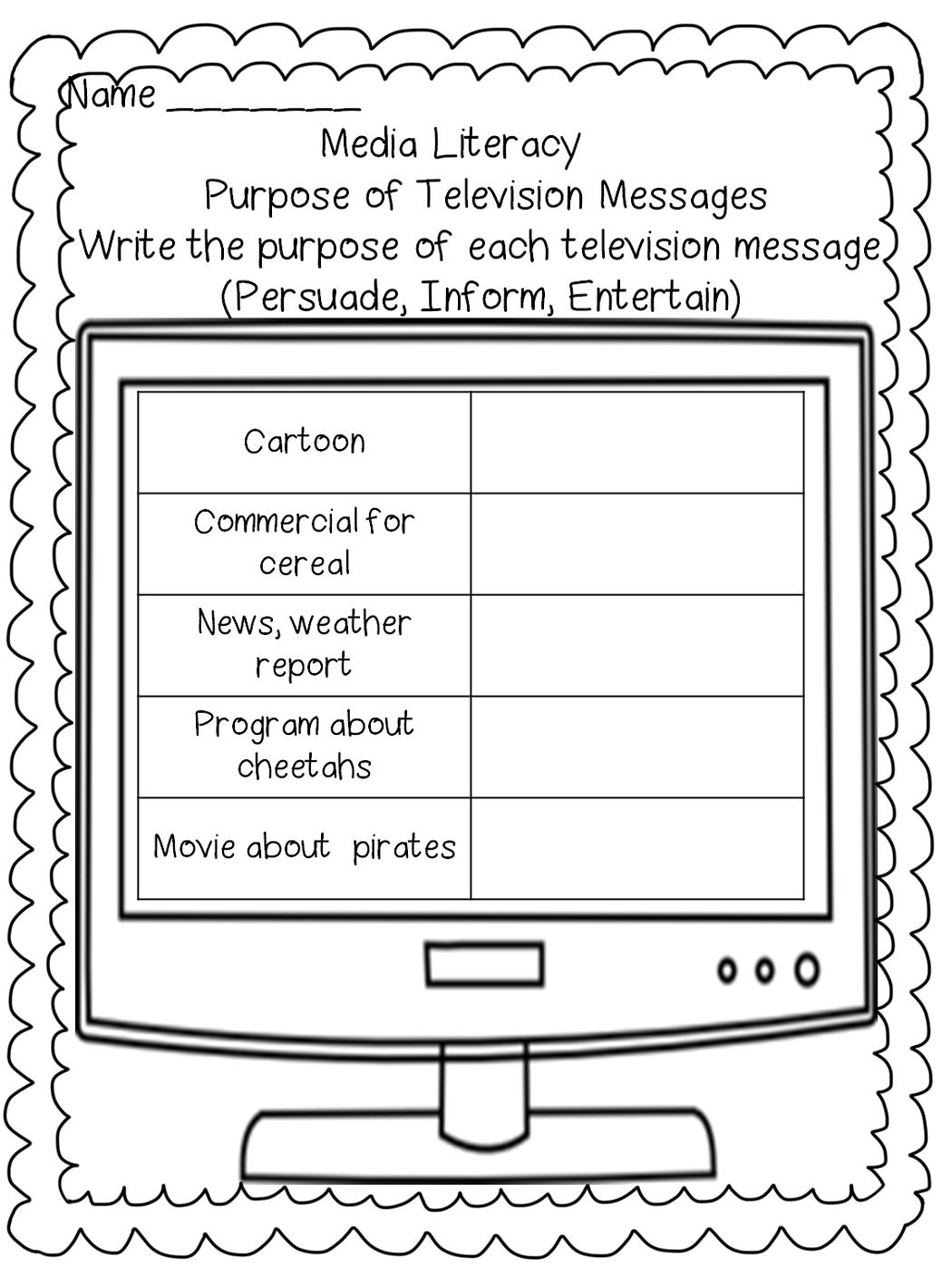 media free literacy worksheets