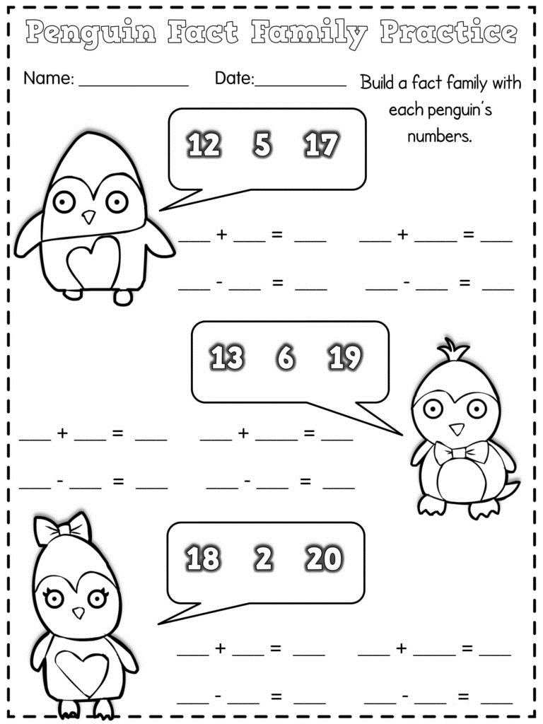 penguin fact families worksheets first grade