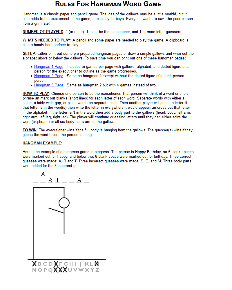 simple hangman game rules