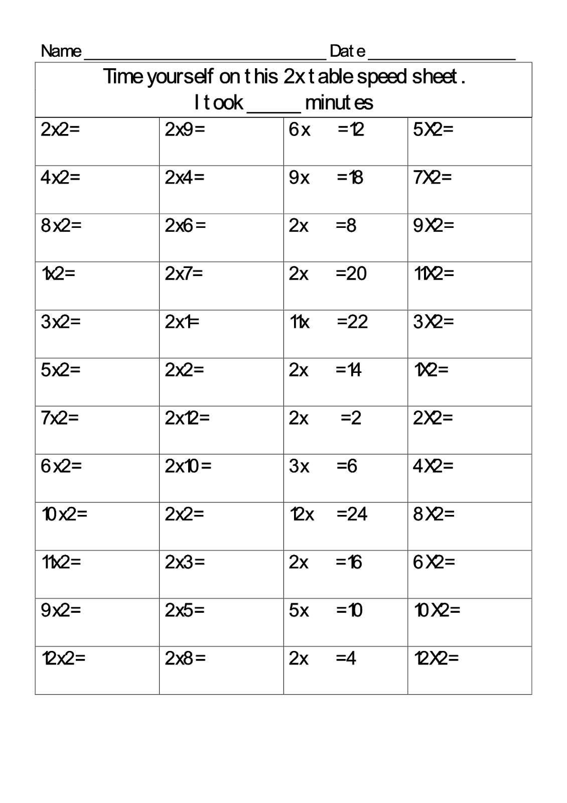 times table drills for kindergarten