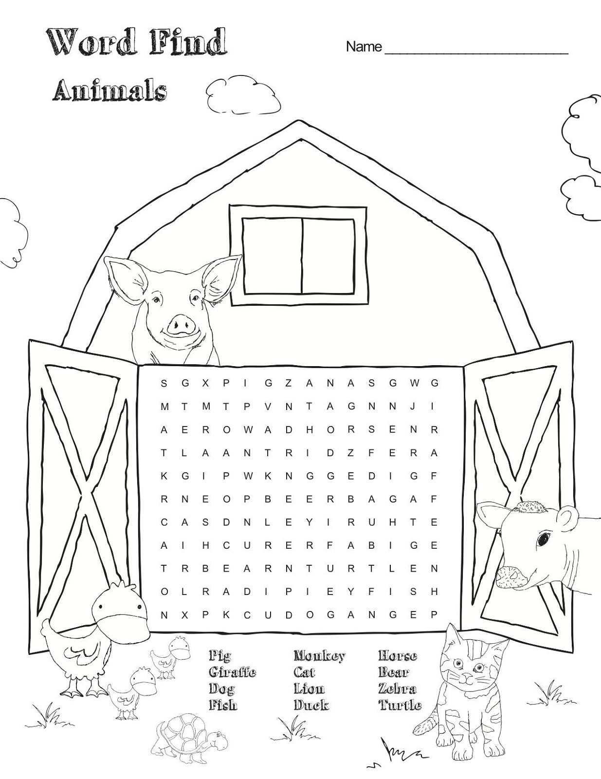 animal farm word search printable