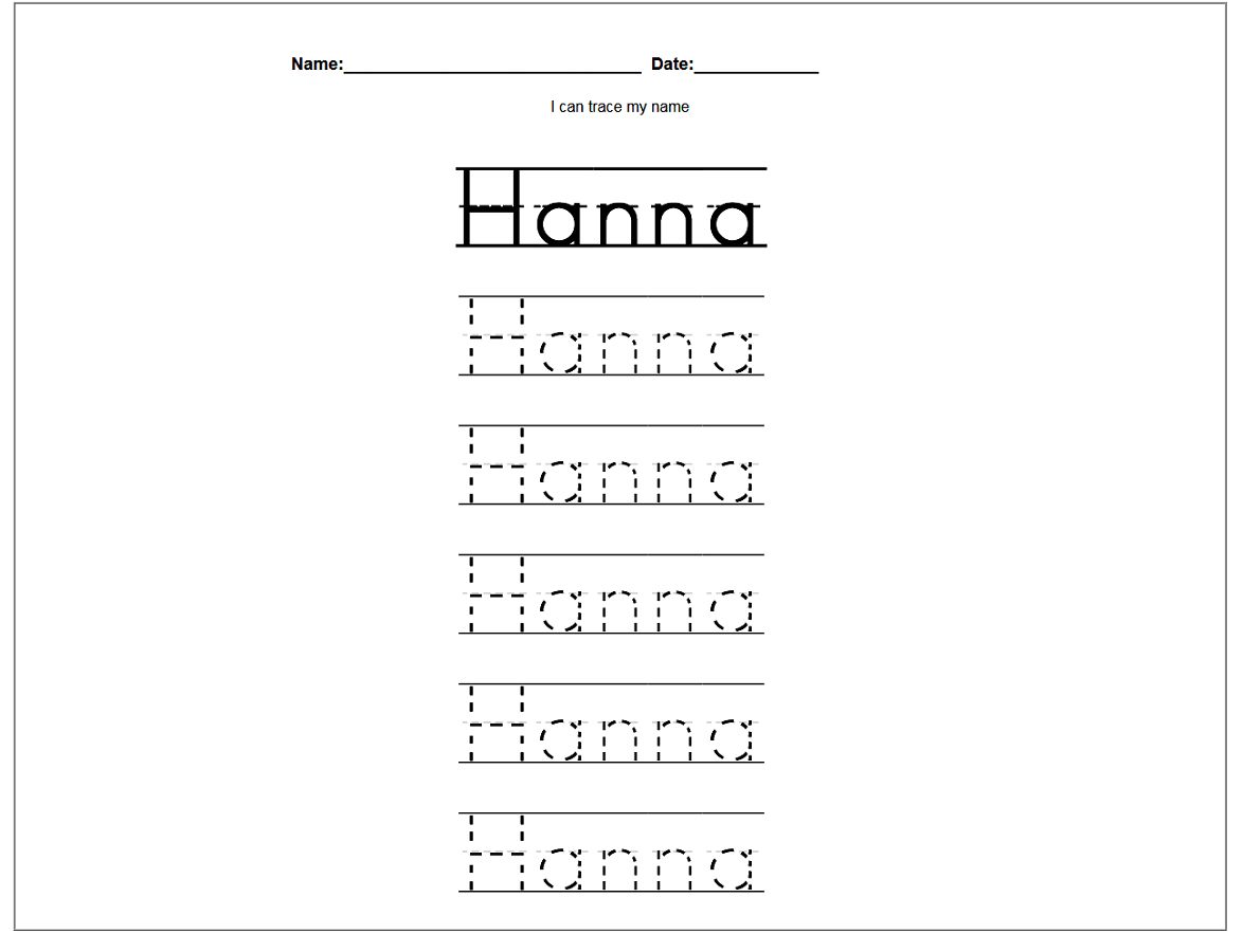 easy traceable name sheets