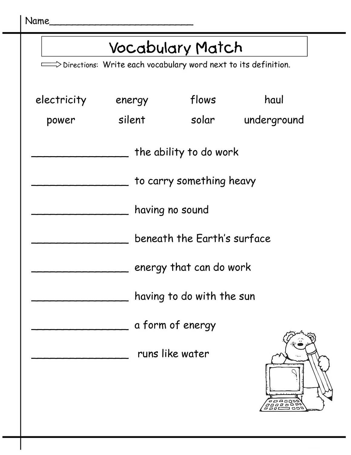 english free worksheets for elementary students