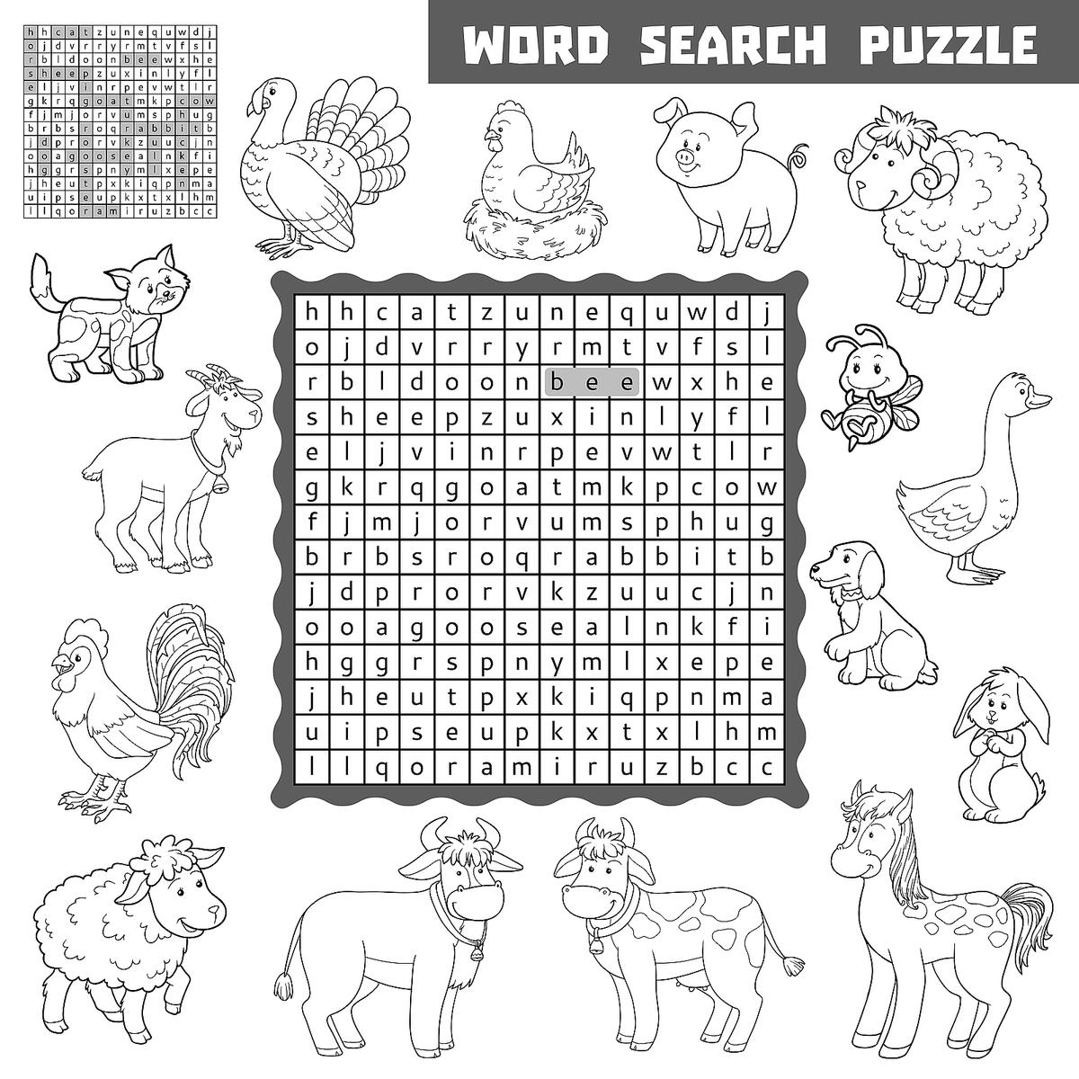 farm animal word search for kids